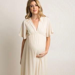 NWT ivory chiffon bell sleeved maxi dress